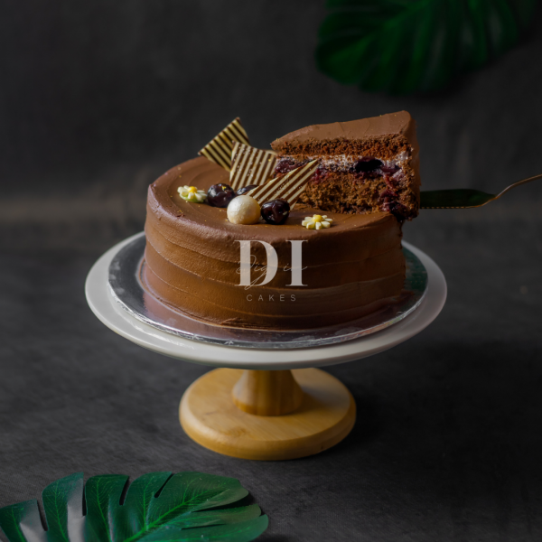 Dark Chocolate Mousse with Cherry Gâteaux Cake Slice