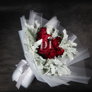 Winter Carol Red Kenya Rose with Dusty Miller Bouquet